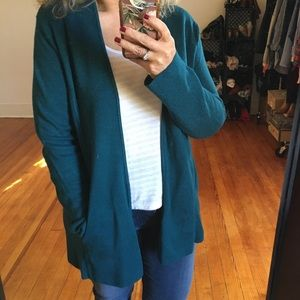 Talbots Teal Open Cardigan Cotton Rayon Blend